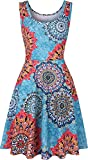 Womens Sleeveless Dress Casual Print Scoop Neck Sundress A Line Midi Dresses Darkblue L