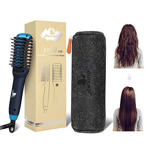 Hair Straightener Curler, Beard Straightener for Men – Mexitop 2 in 1 Hair Straightening/Curling Salon Tool, Lightweight, Dual Voltage, Bonus Glove/Clips/Woolly Cosmetic Bag ($25 Value), Metallic Blue
