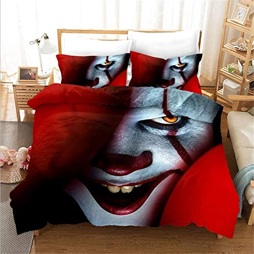 SHUOSHUO Movie It: Chapter Two Pennywise Cosplay Bedding Set Duvet Covers Pillowcases Comforter Full...