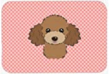 Caroline's Treasures Checkerboard Pink Chocolate Brown Poodle Mouse Pad/Hot Pad/Trivet (BB1256MP)