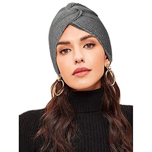 WELROGFrauen Strickmütze Turban HutDamen Retro Cross Winter Kopfbedeckung Wrap Cap Pile Cap für Krebs Chemo-Alopezie-Haarausfall (Dunkelgrau)