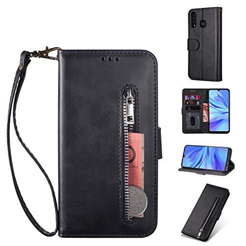 ZTOFERA Huawei P30 Lite Hülle, Magnetisch Folio Flip Wallet Leder Standfunktion Reißverschluss schutzhülle mit Trageschlaufe, Brieftasche Hülle für Huawei P30 Lite - Schwarz