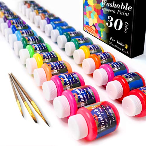 Washable Tempera Paint for Kids,30 Colors (2 oz Each) Liquid Poster Paint, Non-Toxic Kids Paint with Fluorescent Glitter Metallic Neon Colors for Finger Painting, Hobby Painters