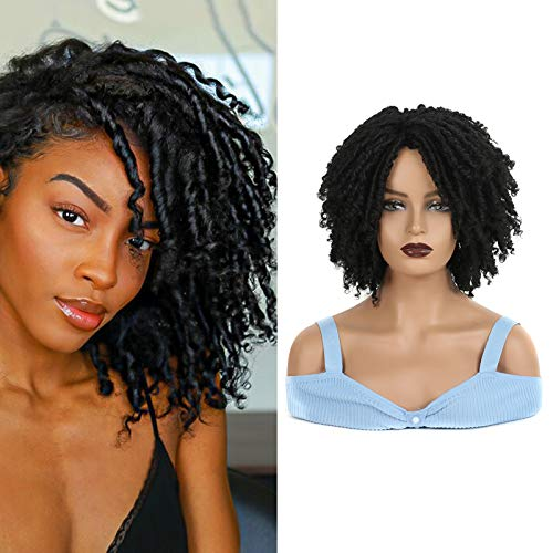 Dreadlock Wig for Black Women, Sidaila Short Twist Wig Synthetic Braided Wigs for men faux locs wigs afro crochet wig for African American Women (1B)