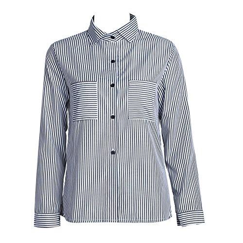 Blusa feminina formal de manga comprida com botão e bolso listrado da Diamondo (GG)