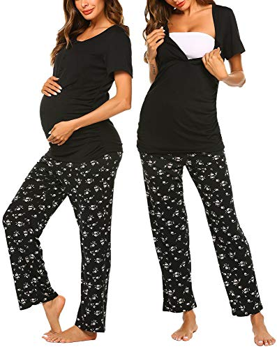 Ekouaer Women's Maternity Nursing Pajamas Set Short Sleeve Pregnancy Sleepwear Sets Soft Breastfeeding Hospital PJS (Black L)