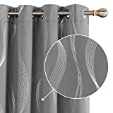 Deconovo Cortinas Opacas Diseño Líneas Onduladas Plateadas para habitación con Ojales 2 Piezas 132x229cm Gris Claro