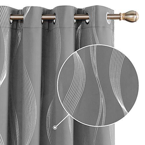 Deconovo Verdunklungsgardine Vorhänge mit Ösen Lärmschutzvorhang 229x140 cm Hellgrau 2er Set