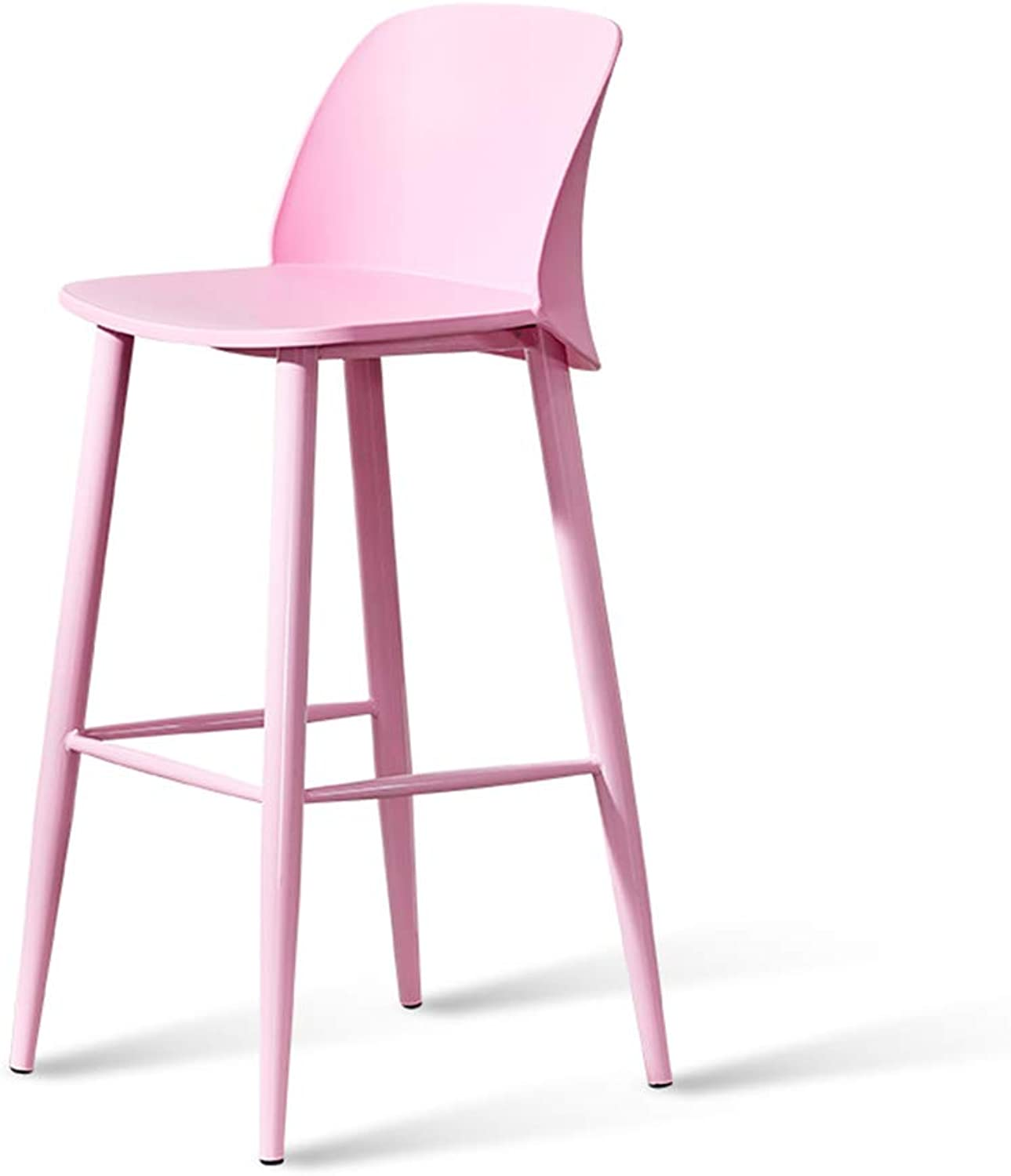 Nordic Bar Stool Pink Minimalist Style Metal Legs Design Kitchen Restaurant Bar Stool Chair with Backrest (Sitting Height  740 MM)