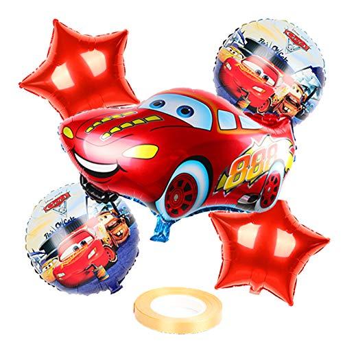 XIAOYAN Globos 6 unids Mcqueen Car Cumpleaños Pastel de Cumpleaños Balloons Baby Shower Fiesta Decoraciones Niños 18 Pulgadas Redondo Coche Helio Ballons Juguetes para niños ( Color : Ruby )