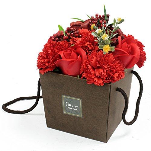 1x Soap Flower Bouqet - Red Rose & Carnation