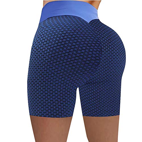 Korte sportbroek dames sport korte broek push up loopbroek yogabroek zomer running leggings joggingbroek (blauw, L)