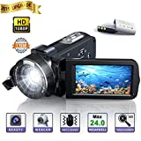 Camara de Video, Videocamara Full HD- YUNDOO Full HD 1080p 24.0MP Videocámara Digital, 3.0 Pulgadas 270 Grados Pantalla LCD giratoria 16X Zoom Digital Cámara de Video Youtube
