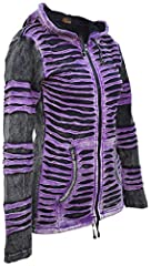 Gheri Women's Stonewashed Cotton Ribs Gothic Emo Funky Razor Cut Slashed Pointed Pixie Hood Jacket Hoodie Purple UK 10 #1