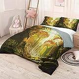HELLOLEON Fantasy Pure Bedding - Ropa de cama de lujo con cascada de otoño vivo inspirado en la naturaleza, impresión digital de poliéster, suave y transpirable (completo) multicolor