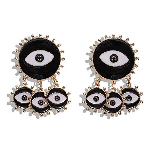 Pendientes,Pendientes de aro Symbolic Evil Eye,estilo vintage, diseño de ojos de demonio, color azul, para mujeres y niñas