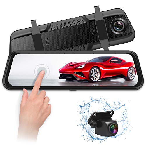 VISKOO, FHD Backup Camera and 1080p Front and Rear Dual Lens Mirror Dash Cam 2 in 1 for car,9.66 inch Full Touch IPS Screen G-Sensor Parking Monitor and Night Vision