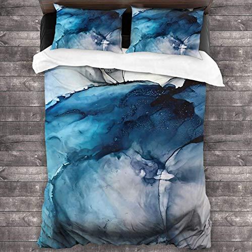 Set di biancheria da letto matrimoniale con 2 federe per cuscini, 3 pezzi, 218,4 x 177,8 cm, colore: Bianco sabbia blu mare