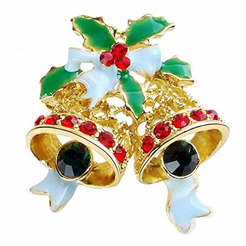 Tendycoco kerstbroche, decoratie, broche, bel, kristal, rood, verguld, strass, kerstcadeau