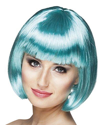 Boland 85898 pruik voor volwassenen Cabaret, turquoise, één maat