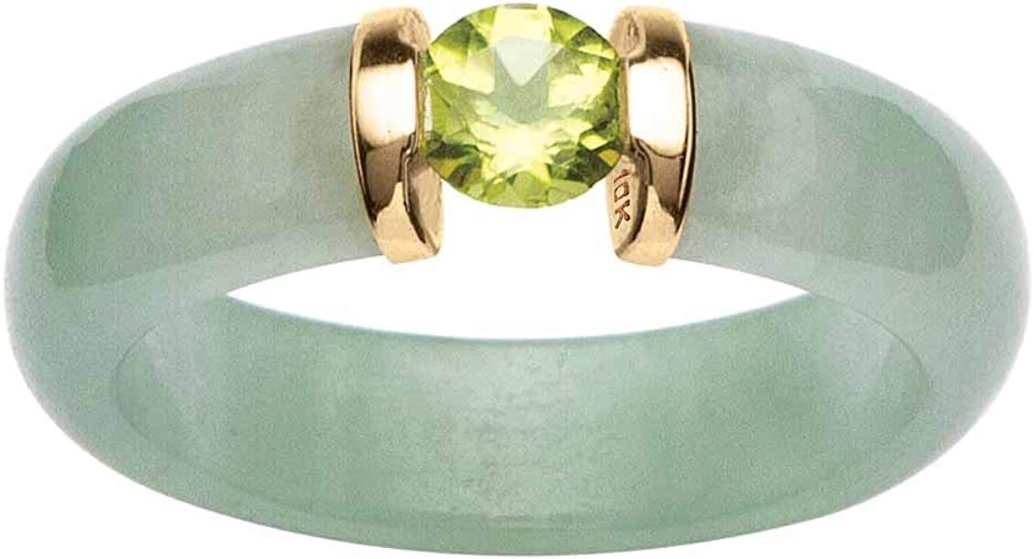 10K Yellow Gold Round Genuine Jade and Round Green Genuine Peridot Ring Size 5