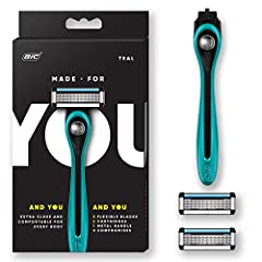 PREMIUM SHAVING SYSTEM: The Made For YOU shaving kit from BIC is a premium razor for both men and women, designed to shave your face and body. This starter kit includes 1 razor handle and 2 cartridges. FIVE FLEXIBLE BLADES: 5 flexible blades provide ...