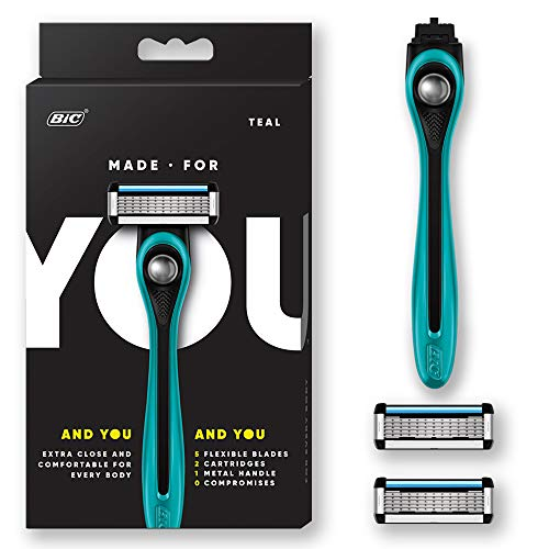 Made For You by BIC Shaving Razor Blades for Every Body - Men & Women, with 2 Cartridge Refills - 5-Blade Razors for a Smooth Close Shave, Teal, Kit