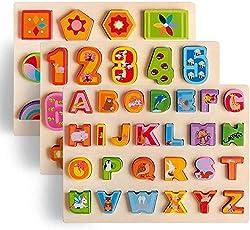 Aozora(青空) 木製パズル モンテッソーリ 積み木 パズル 知育玩具 アルファベット 数字学習 幾何認知 A・B・C 英語 木のパズル 立体パズル 木のおもちゃ はめこみ 形合わせ  指先訓練 数学力アップ 男の子 女の子 子ども 教材 誕生日 クリスマス プレゼント 贈り物 出産祝い 入園お祝い