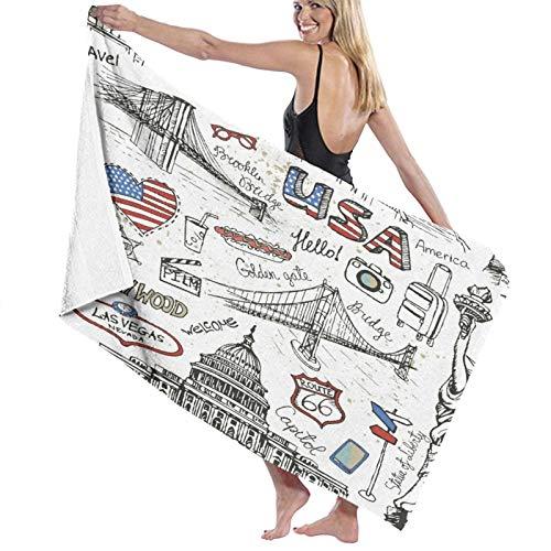 Toalla de Playa de Microfibra de Secado rápido, New York Doodle, Toalla Suave y Ligera para Acampar, Viajar, Playa, Nadar, Yoga, Gimnasio, 52 'x 32'