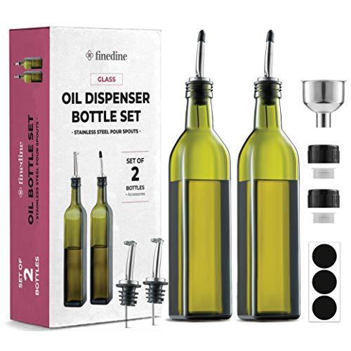 Superior Olive Oil Dispenser Set - Slim Dark Green Design Oil and Vinegar Dispenser - Funnel For Easy Refill - Oil Dispenser Bottle For Kitchen With 4 Pouring Spouts and Labels - Glass Oil Bottle Set.