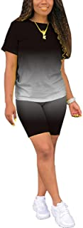 Women's 2 Pieces Casual Solid Color Short Sleeve T-Shirt Sports Shorts Yoga Clothes Sportswear Workout