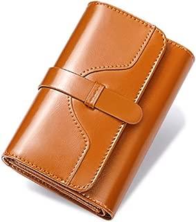 Pusaman New Women's Retro Wallet, Oil Wax Leather Short Wallet (Color : Brown, Size : 14 * 9CM)