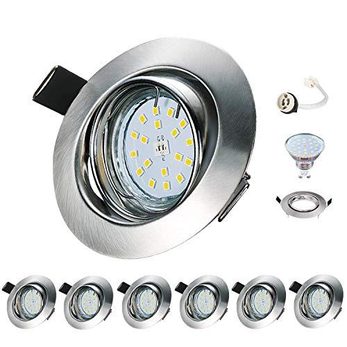 Faretti LED da Incasso per Cartongesso Orientabile Kimjo 6W Bianco Naturale 4000K Plafoniere LED Soffitto Pari a 60W 550lm 230V 82Ra IP23 Set da 6