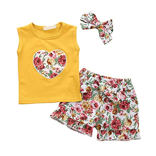 Tianhaik Toddler Kids Baby Mode Pak Hart Gedrukt Mouwloos Vest Bloemen Korte Broek Hoofdband voor Casual
