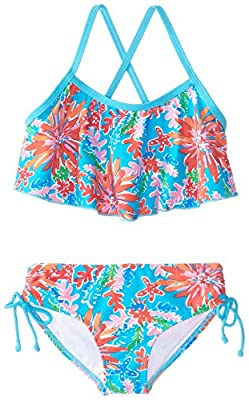 Kanu Surf Girls' Big Karlie Flounce Bikini Beach Sport 2-Piece Swimsuit, Ariel Blue, 8