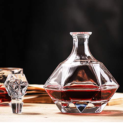 GAOXIAOMEI Decantador De Whisky Diamond, Botella De Vidrio Diamond Vokda con Tapón Decantador De Whisky para Licor, Whisky, Ron, Bourbon, Vodka, Tequila