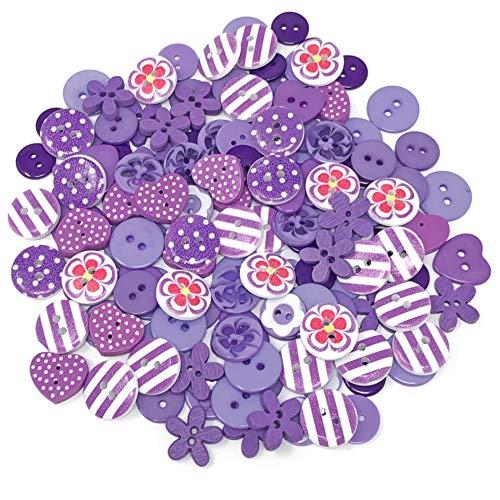 150 boutons violets en résine, bois et acrylique pour décoration