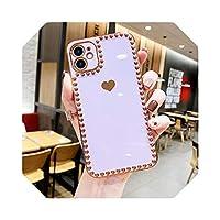 For iPhone 12 ProMaxケース用電気メッキ3DハートフォンケースFor iPhone11 Pro Max XR XS Max 7 8 PlusXソフトTPUカバーバンパー用-Purple-For iPhone 12 Pro