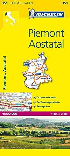 Michelin Piemont, Aostatal: Straßen- und Tourismuskarte (MICHELIN Localkarten)