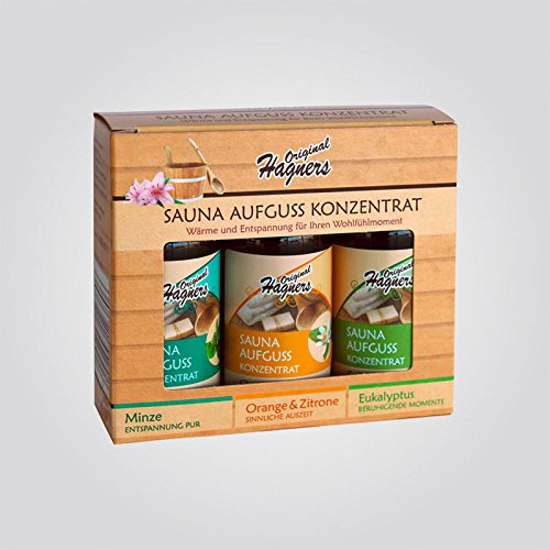 Original Hagners Sauna-Aufguss-Konzentrate 3er Set Minze - Orange & Zitrone - Eukalyptus je 50 ml