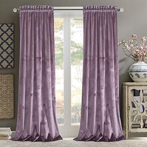 Roslynwood Room Darkening Luxurious Velvet Curtains - Noise Absorbing Light Blocking Velvet Drapes with Rod Pocket for Dining Room/Party Decor, Lavender 52Wx84L /2 Panels