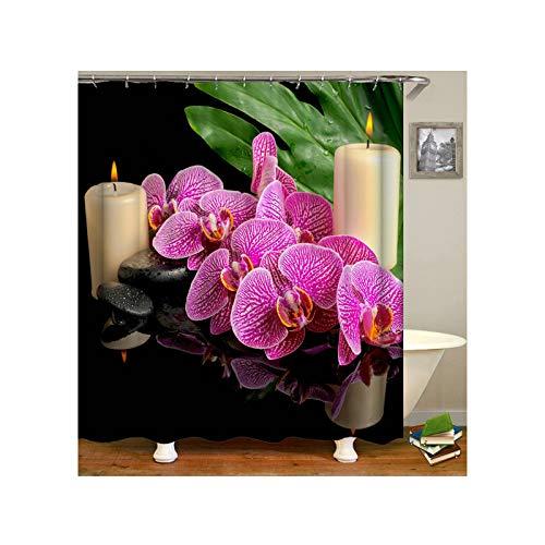 Aeici Duschvorhang 120X180 cm Schmetterlings-Orchideen-Blume Polyester Badvorhang Antischimmel Fuchsie Duschvorhang für Badezimmer