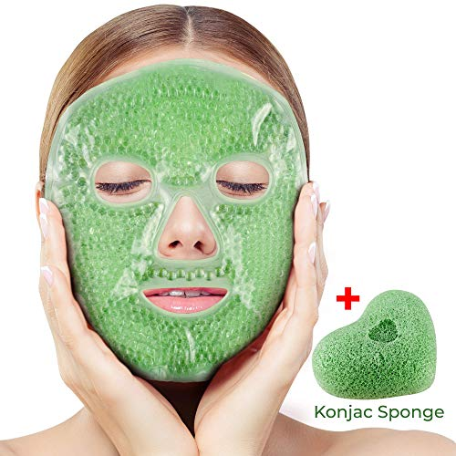 Face Mask and Konjac Sponge, De-Stress and Revitalize, Flex Gel Beauty Face Beads Best for Dark Circles, Puffy Eyes, Headaches, Migraines, Sinusitis, Soothing Hot Cold Eye Mask, Night Sleep Spa Wrap