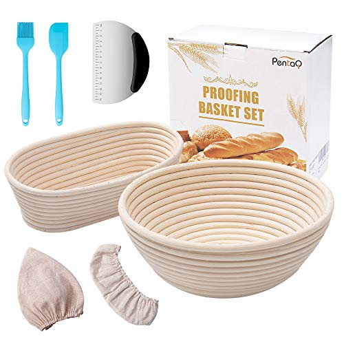pentaQ Banneton Bread Proofing Basket Set of 2, 10 Inch Oval & 9 Inch Round Banneton Natural Rattan Proofing Baskets with Dough Scraper+ Silicone Spatula + Silicone Brush+ Linen Liner