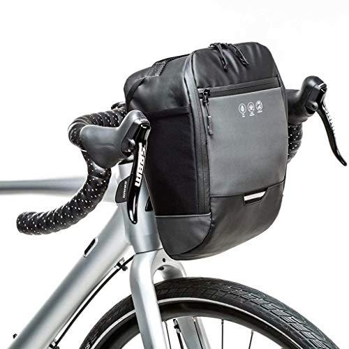 FSJD Bolsa Reflectante para Manillar de Bicicleta, Marco Delantero Impermeable, Paquete de Cesta para Bicicleta, Bolsa de Almacenamiento con Bolsillo Interior, Negro, 20,5 cm × 20 cm × 14 cm