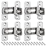KingYH 4 Pack Door Latch Gate 90 Degree Right Angle Flip Latch with Screws Stainless Steel Barn Sliding Door Lock Heavy Duty Hasp Latch for Bathroom Toilet Door Window Household Hardware Accessories