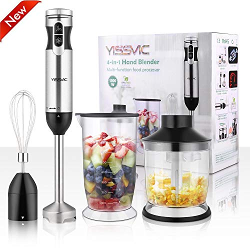 YISSVIC Hand Blender 1000W 700ml Immersion Blender 9 Speed Control, 4 In-1 Powerful Stick Blender, Chopper, Whisk, BPA-Free, 500ml Food Grinder for Sauces Smoothie Puree Infant Food