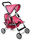 Exquisite Buggy, Twin Doll Double Stroller | Pink & Polka Dot Design Easy to Fold Double Stroller with Basket in the bottom