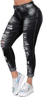 YOUCAI Vaqueros con Rotos Mujer Skinny Jeans Cintura Alta Jeggings Jeans Elástico Pantalones Largos Vaqueros Distressed Ra...