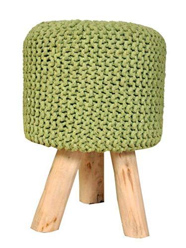 Sitzhocker Strick-Hocker Pouf Schemel mit Holzfüßen Ø 35 cm Höhe 45 cm Farbe neon